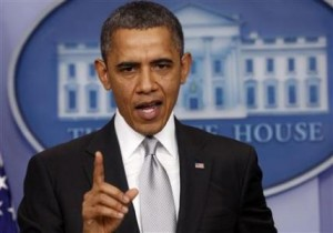 U.S. President Barack Obama speaks about the fiscal cliff to members of the media in the White House Briefing Room