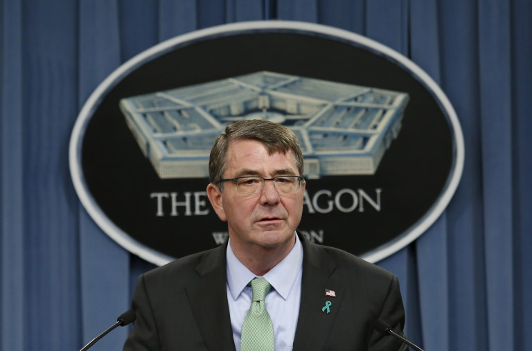 U.S. Defense Secretary Ash Carter speaks at a news conference at the Pentagon in Washington to release the Annual Report on Sexual Assault in the Military, May 1, 2015. REUTERS/Yuri Gripas - RTX1B53K